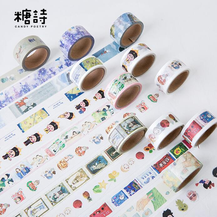 2CM Wide Lovely Cat Fruit Confidante Snacks  Washi Tape DIY Scrapbooking Sticker Label Masking Tape School Office Supply 1 5cm wide amazing library books washi tape diy scrapbooking sticker label masking tape school office supply