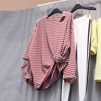 Stripe shirts full sleeve with hollow out elbow 2018 hipster