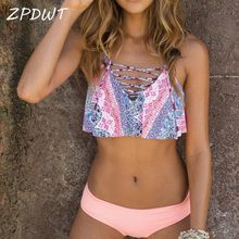 ec90476767083 ZPDWT High Neck Brazilian Biquini Maillot De Bain Bandage Pink Bathing Suit  Swimming Suit for Women Summer Swim Wear Bikini Set