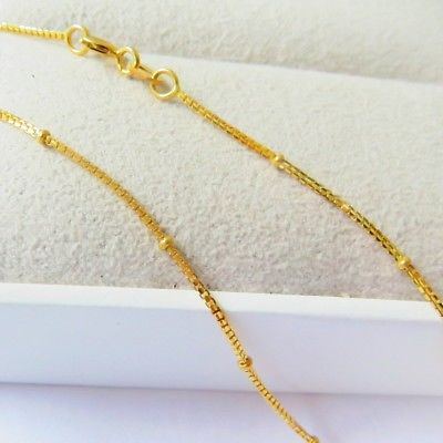 Solid 18K Yellow Gold Necklace 1.1mm Bead with Box Link Chain Necklace 17.7Solid 18K Yellow Gold Necklace 1.1mm Bead with Box Link Chain Necklace 17.7