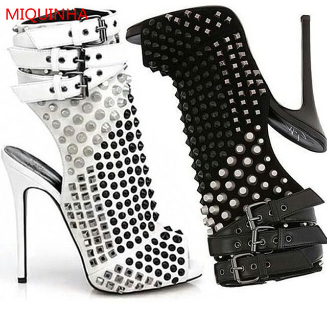 71b7bb3a3b High Quality Summer White Black Studded Women Ankle Boots Peep Toe Ankle  Strap Stiletto High Heel Gladiator Sandals Women Boots