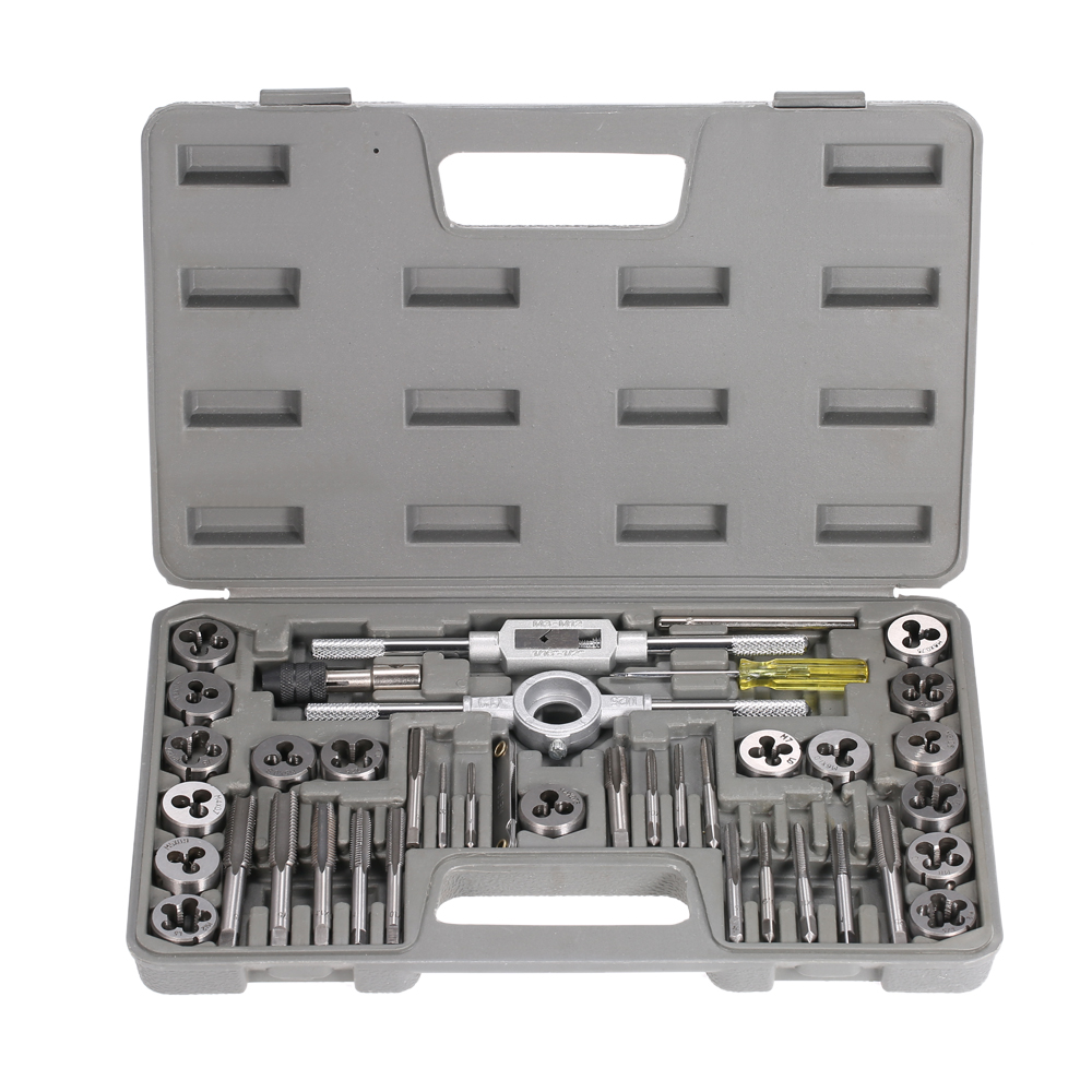 High Quality Professional Steel Tap Dies Set Gauge Wrench Threading 40 PCS Hand Tools With Case Hardware Tools Instrument Set 31pcs m1 m2 5 mini metric tap threading die sewt rench holder high speed steel hand tool for woodworking model making watchmaker