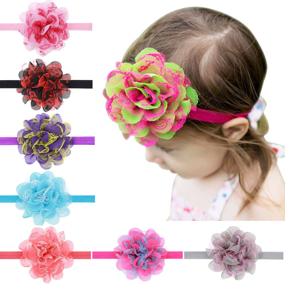 baby girl headband Infant hair accessory flower Tie bows newborn floral   Headwear   tiara headwrap Gift Toddlers bandage Ribbon