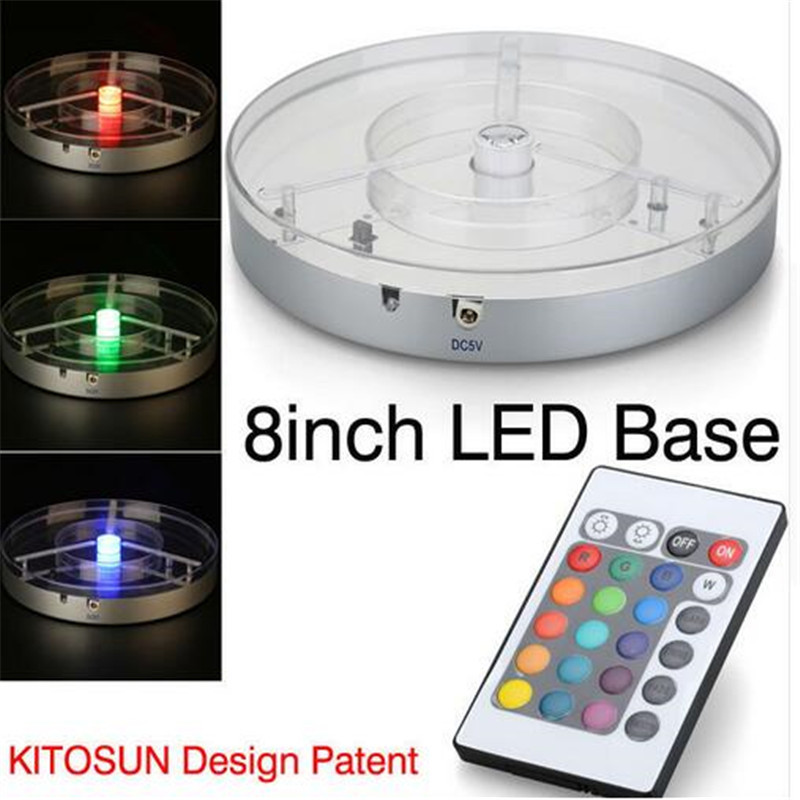 Best Selling 20pcs/lot Beautiful Color-changing 8 Inches Silver Plastic Centerpiece LED Base Spot Light For Wedding Decoration