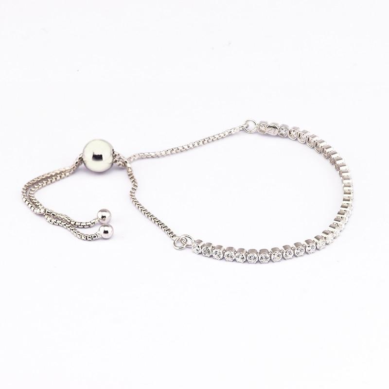 Sparkling Strand Bracelet 100% Silver 925 Jewelry Clear CZ Bangles Bracelets For Women Fine Jewellery Making Free Shipping