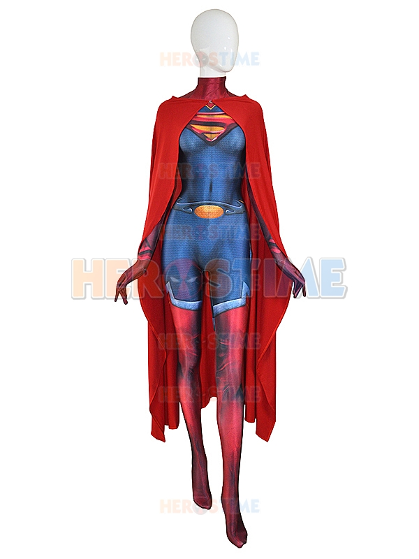 2017 Man of Steel Supergirl Costume Print Spandex Cool Supergirl Bodysuit lady Superhero Costume With Cape Custom available