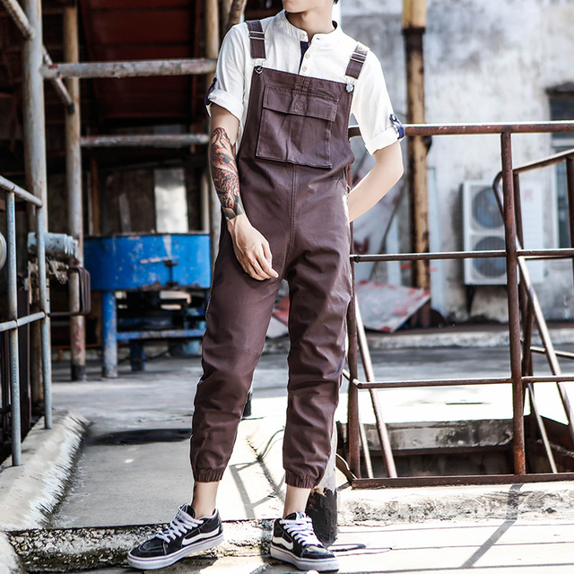 2019 New Japanese Retro Casual Siamese Suspenders Men's Autumn zipper Design Beam pants Men's Tooling Bib Size S-XL XXL