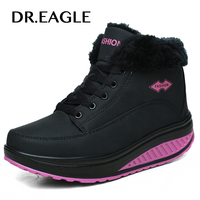 DR.EAGLE High ankle winter sport shoes women platform shoes Leather Body shaping Slimming Shoes Fitness Lady Swing Shoes Sport