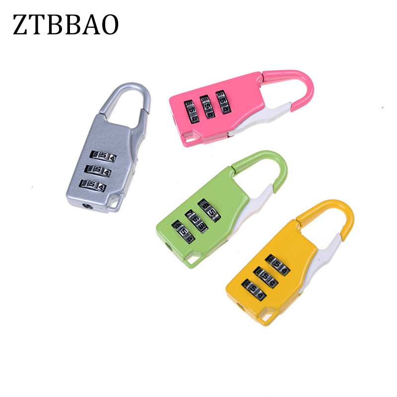 1pcs Mini Padlock Travel Suitcase Luggage Security Password Lock 3 Digit Combination Color Random