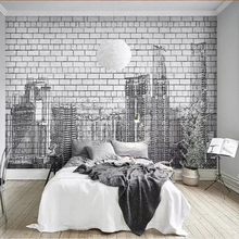 ФОТО 3 d custom modern photo wallpaper black and white wallpaper brick wall papers hand painted city landscape line mural home decor