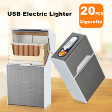 Metal Cigarette Case Box with USB Lighter 20pcs Capacity Wat