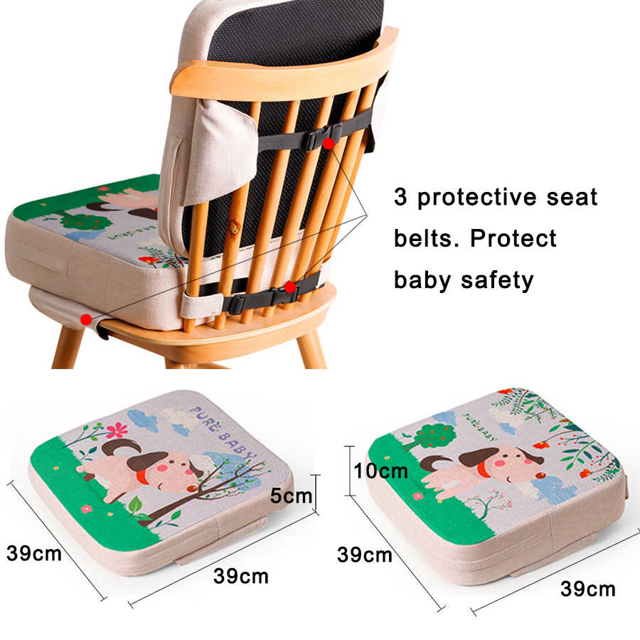 LDDO Kids Dining Chair Heightening Cushion/ Toddler Booster Seat for Dining Table Washable Portable Thick Chair Increasing Cushion for Baby Kids Seat Cushion/ 3 inch high