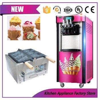 Otomatik 3 lezzet dondurulmuş yoğurt meyve yumuşak dondurma yapma makinesi Kore tarzı balık waffle makinesi