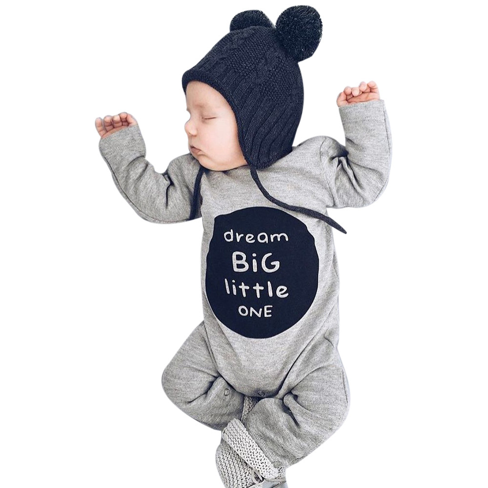 Infant Baby Boy Clothes Rompers Long Sleeve Cute Jumpsuit Outfits Clothes Jumpsuit Clothes Outfits Letter 827