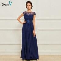 Dressv Blue Long Mother Of The Bride Dress Scoop Neck A Line Cap Sleeves Simple Custom