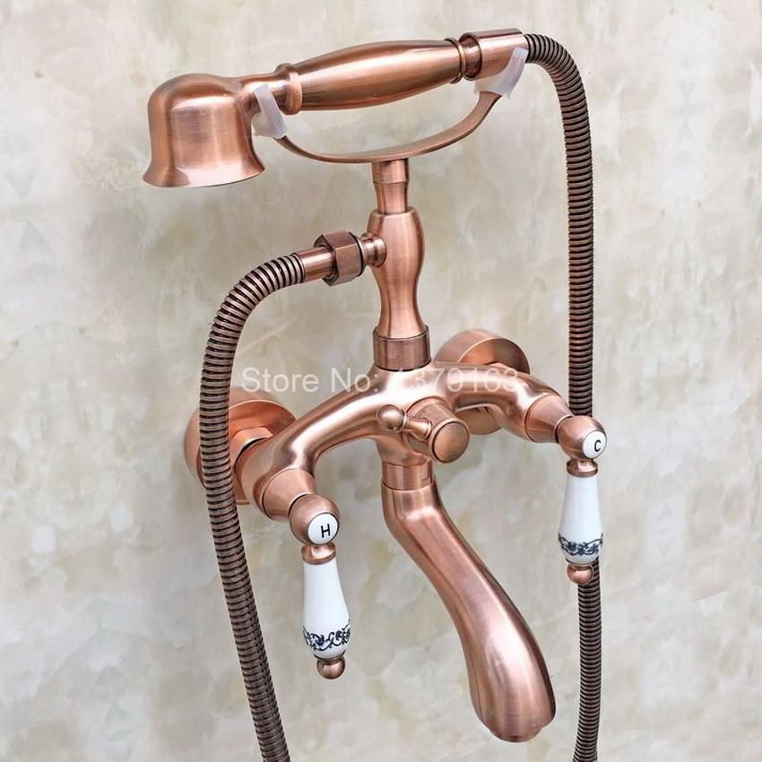 Antique Red Copper Clawfoot Bath Tub Mixer Tap Faucet Handheld ...