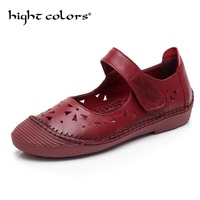 Genuine Leather Flat Shoes Woman Loafers Spring 2018 New Fashion Women Casual Mary Janes Shoes Handmade