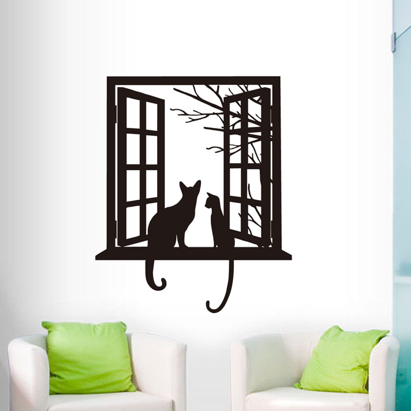Cats Vinyl Wall Sticker Home Decor For Living Room Cat ...