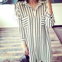 Women's Blouses 2017 Spring Women Blouses Office Lady Elegant Striped Shirts Women Chiffon Tops Large Size 4XL