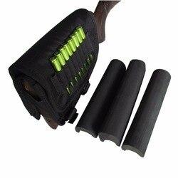 Tourbon pistola de caza accesorios Buttstock Rifle de francotirador apoyos de mejillas con 3 almohadillas ajustables cartuchos de bala titular de la mano derecha