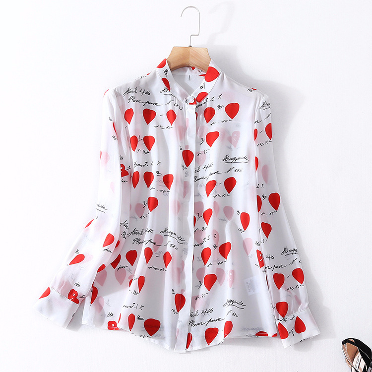 2018 printemps nouveau produit blousre turn down cou femme tops vraie chemise en soie à manches longues impression mûrier blouses en soie