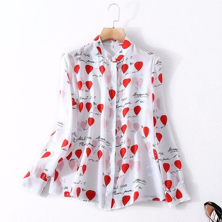 2018 wiosna nowy produkt blousre skręcić w dół szyi kobieta topy prawdziwe jedwabna koszula z długim rękawem druku morwy jedwabne bluzki w Bluzki i koszule od Odzież damska na  Grupa 1
