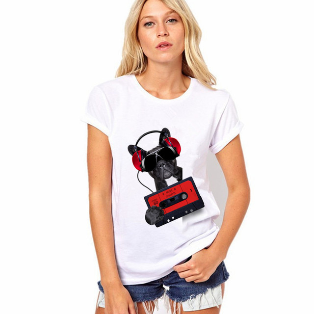2017 New Fashion Summer Women Listen To Music Dog O Neck T Shirt Printed Feminine Sexy Loose Short Sleeve Clothes