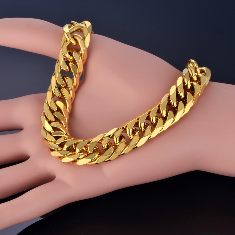 Cuban Link Armband Für Männer Schmuck Punk Gold Farbe Schwere Big - Modeschmuck - Foto 3