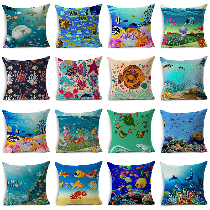 Monily Sofa Decor Linen Cotton Square Cushion Cover Sea Animals Series Pillow Case Fish Octopus Coral Crab Chair Pillow Cover
