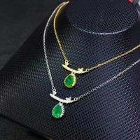 SHILOVEM 925 sterling silver real Natural Emerald Pendants classic fine Jewelry women wedding wholesale new gift dlp050701agml