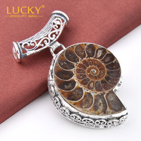 Free Shipping 2014 New Arrival 925 Silver Exotic Handmade Vintage Jewelry Ammonite Fossil Pendants For Weddings