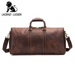 Bardzo duże mężczyźni prawdziwej skóry torba podróżna rocznika szalony koń skórzane człowiek torba podróżna bagażu torby weekendowe mężczyzna 91406