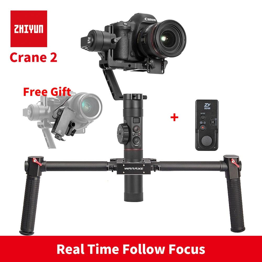 In Stock ZHIYUN Crane 2 camera Handheld 3-Axis Stabilizer with Follow Focus 3.2KG bear 3 axis DSLR gimbal steadicam easyrig 18kg gh5 red serene camera easy rig dslr dji ronin 3 axis handheld gimbal stabilizer video stabilization steadicam vest