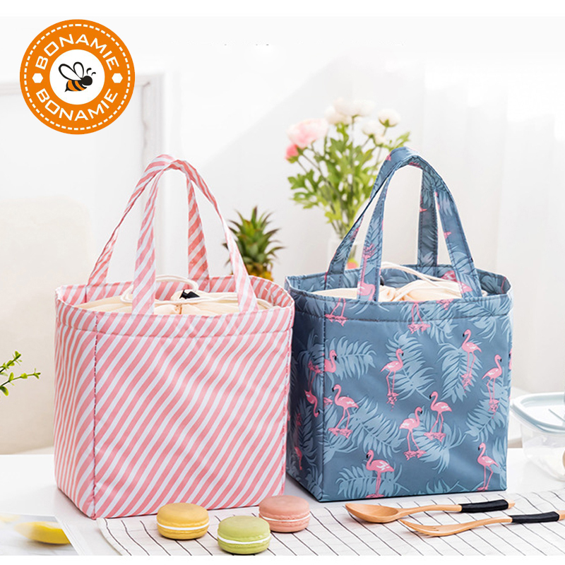 BONAMIE Insulation Cold Bales Thermal Oxford Lunch Bag Waterproof Functional Leisure Bag Cute Flamingo Cactus Tote Cooler Bag