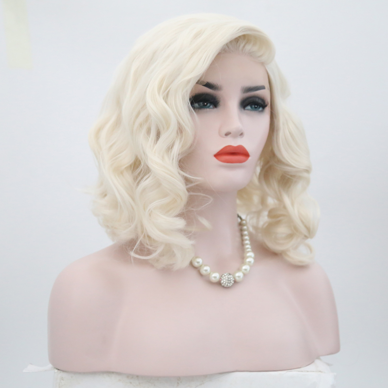 Charisma Short Wig Bob Style Blonde Wig Heat Resistant Glueless Synthetic Lace Front Wig 180 Density