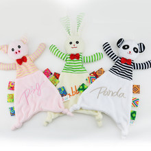 Baby Plush Appease Towel Soft Pig Rabbit Panda Animal Toy Cloth Infant Newborn Puppet Ribbon Kids Boy Girl Gift Early Learn Toys(China)