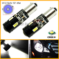 2pcs/lot White Error Free Canbus Bax9s H6W 64132 High Power 9W 4-SMD CRE E LED with Lens Bulbs for Backup Parking Lights,etc