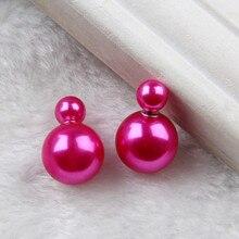 Double Sided Earrings Wholesale Fashion Pendiente Brinco Double Pearl Earrings in Jewelry for Women 2019