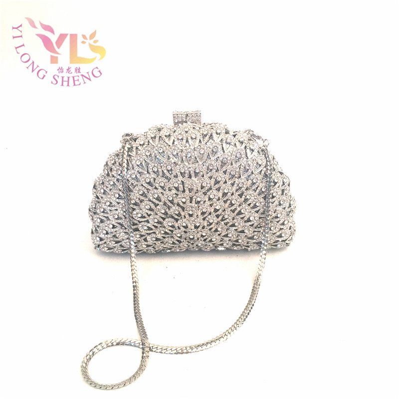 Silver Clutch Evening Bags Women Stylish And Simple Silver Metal Hollow Clutch Bag YLS-HOW21 stylish metal and canvas design satchel for women