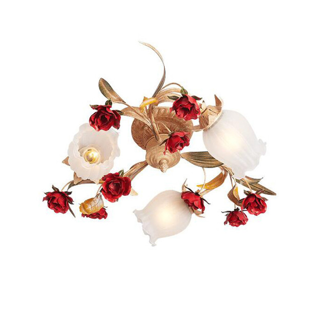 French Red Rose Chandelier White Glass Shades Set Replacement Parts Gold Led Ceiling Lamp Light