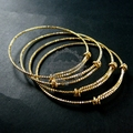 65mm diameter raw brass faceted simple adjustable wiring bracelet for beading 1900085
