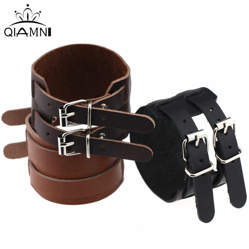 QIMING 2019 Fashion Jewelry PU Leather Bracelet Men Double Buckle Bracelets For Women Best Friend Gift  Hot Sale Black Bangle