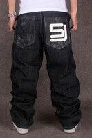 2017 Men S Black Baggy Jeans Hip Hop Designer CHOLYL Brand Skateboard Pants Loose Style True