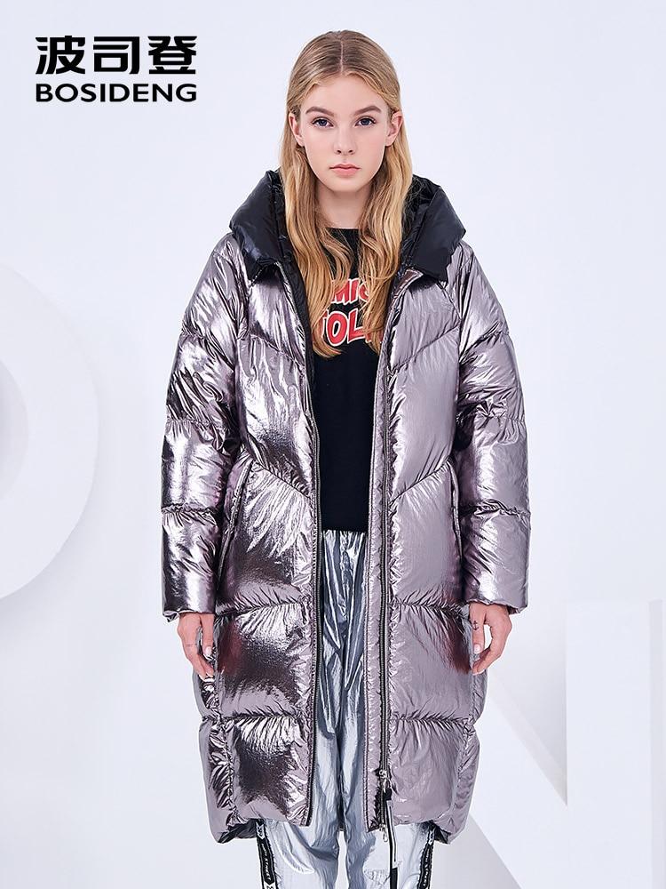 Kadın Giyim'ten Şişme Montlar'de BOSIDENG kadın uzun aşağı ceket 2018 kış yeni uzun over the diz moda iç dış renk engelleme uzun kaban B80142562DS'da  Grup 1