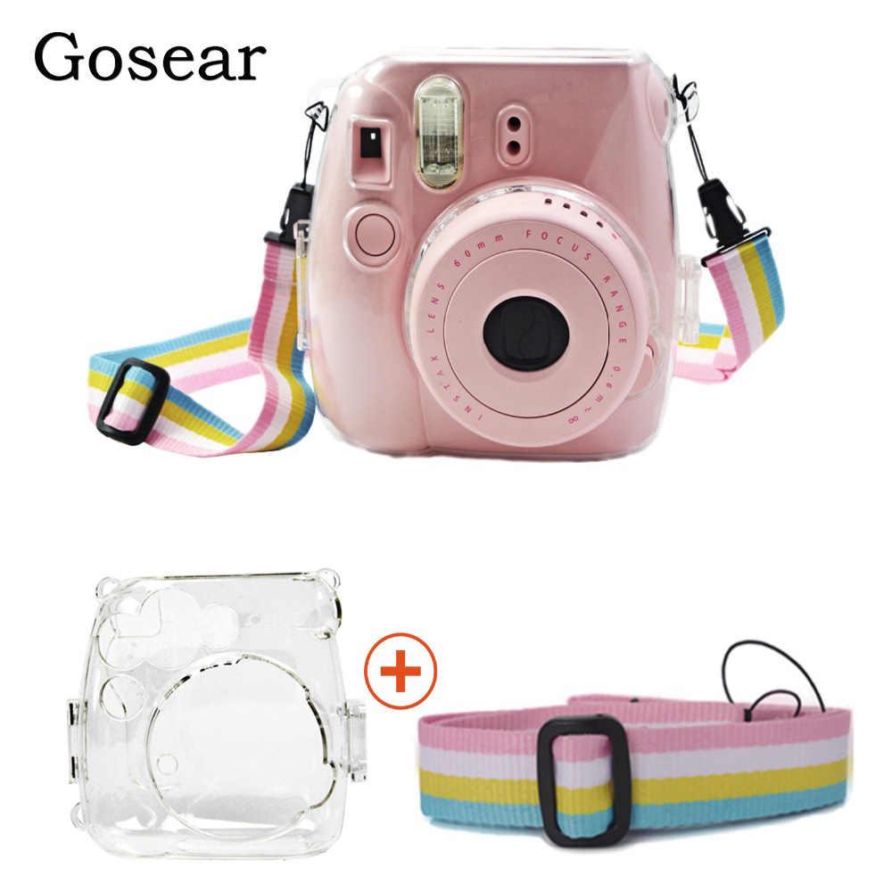 Capa protetora para câmera gosear, case protetor para fujifilm instax mini 9, 8, fuji instant, capa com alça de ombro acessório