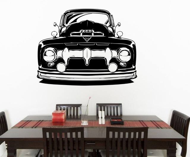 Free Shiping Removable Ford Truck Clic Car Vinyl Wall Sticker Decal Art Hot Rod Home Decor
