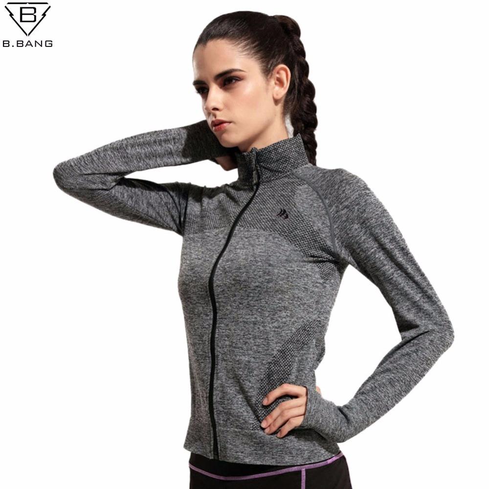 B.BANG лето стиль быстро сухой с длинными рукавами спортивные костюмы свитер с женской одежды работает фитнес молния куртки верхняя одежда бесплатная доставка