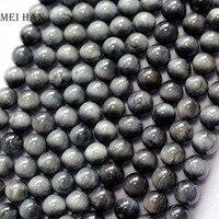 Natural 15 5 Inches Strand Of 6mm Hawk Eye Gemstone Round Loose Beads DIY Semi Precious