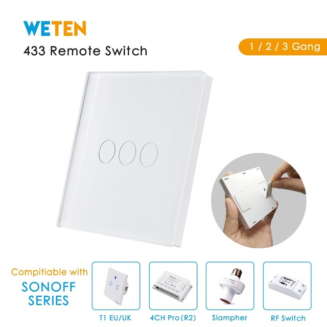 433 Mhz de pared con Control remoto Interruptor táctil para Sonoff T1 Reino Unido UE Sonoff 4CH Pro R2 Slampher inteligente RF de 433,92 MHz interruptor de luz de Control remoto