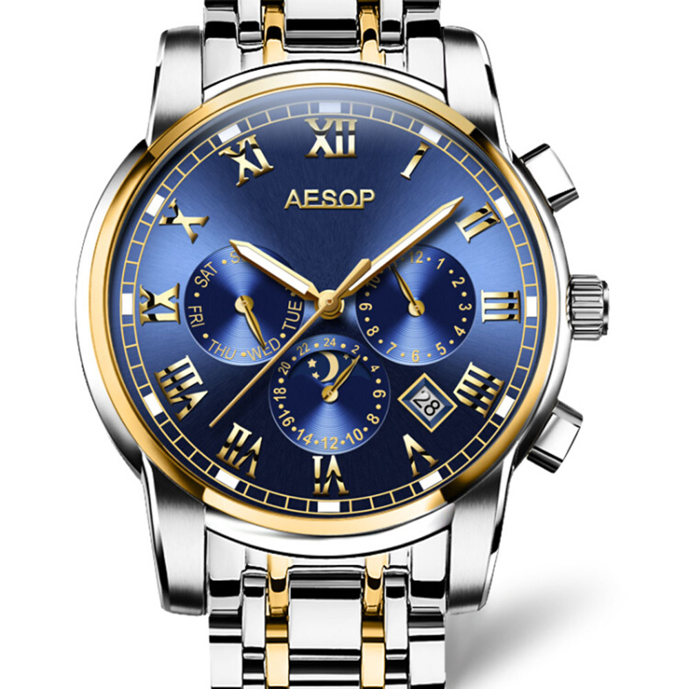 AESOP Blue Moon Phases Watch Men Automatic Mechanical Double Calendar Clock Stainless Steel Bracelet Two-Tone Gold Mens Watches stylish 8 led blue light digit stainless steel bracelet wrist watch black 1 cr2016